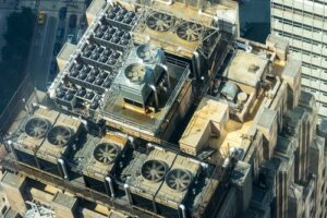 HVAC systems on a high rise roof
